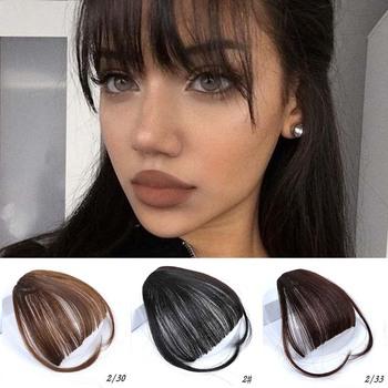 MUMUPI grzywka powietrza klip w Bangs przód schludny grzywką Fringe włosów kobiet włosy Clip In klip rozszerzenie na akcesoria do włosów sztuczne włosy tanie i dobre opinie Wysokiej Temperatury Włókna 1 sztuka tylko Clip-in Pure color Blunt bangs