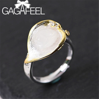 GAGAFEEL S925 Sterling Silver Magnolia Flower Open Ring Women's Temperament Thai Silver Jewelry Elegant Adjustable Rings