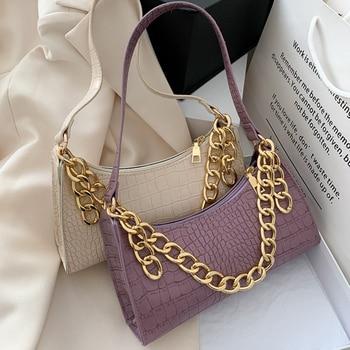 Fashion All-match Women's Shoulder Bag Crocodile Pattern Underarm Bag Temperament Chain Handbag Trend Zipper Bags for Women 2021 1
