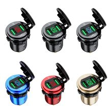 Waterproof Dual QC3.0 USB Fast Charger Power Outlet LED Voltmeter for Car Marine 667C