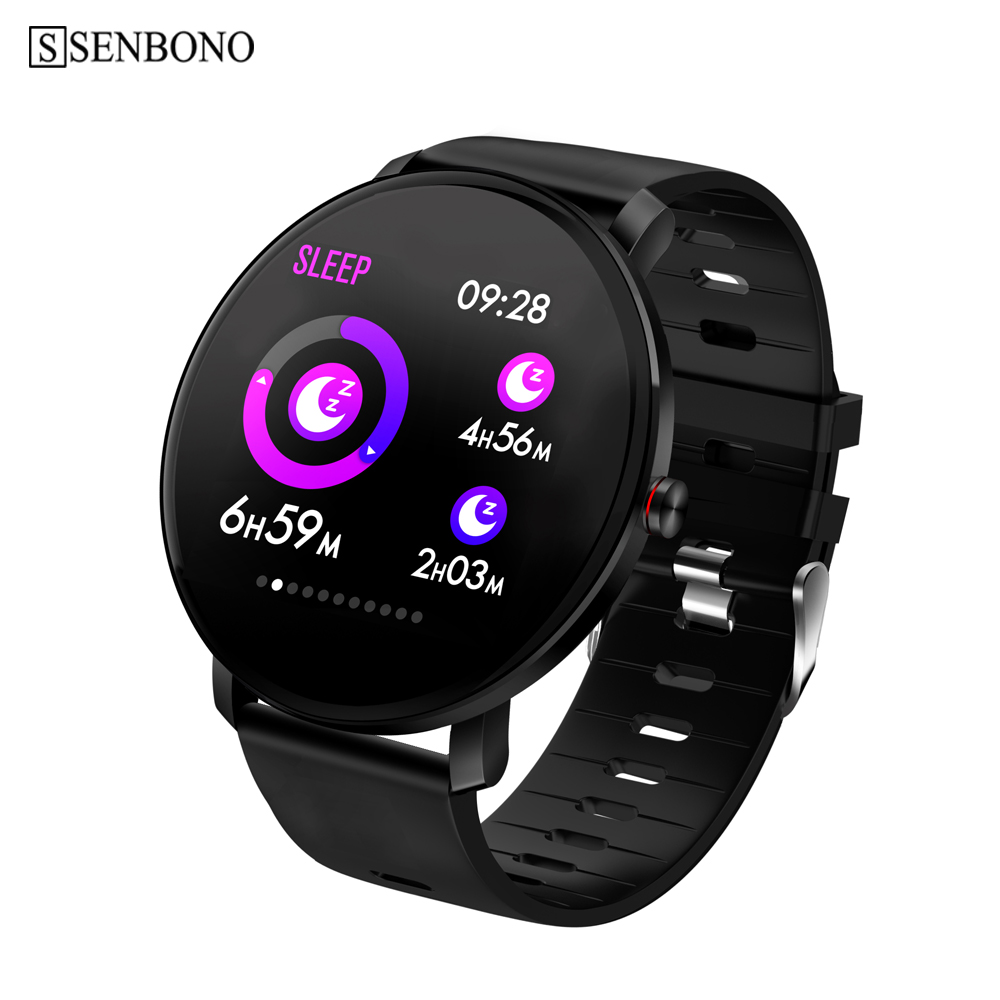 SENBONO men Smart watch IP68 waterproof Full Touch IPS Color Screen Heart rate monitor Fitness tracker Sports women smartwatch