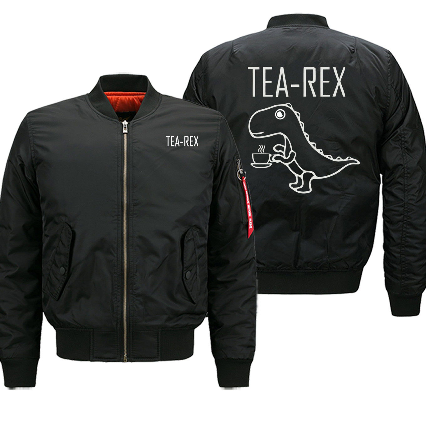 TEA-REX Military Style Mens Jacket Winter Casual Bomber Zipper Coat Men Funny Dinosaur Drink Coffee Male Sports Jackets Oversize