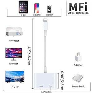 Для перехода от разъема Lightning к HDMI Совместимость устройство работающее от прикуривателя с 2 портами USB разветвитель кабеля конвертер 1080P цифровой av адаптер Lightning Аксессуары для мобильных телефонов для iPhone и iPad к телевизору Кабели HDMI      АлиЭкспресс