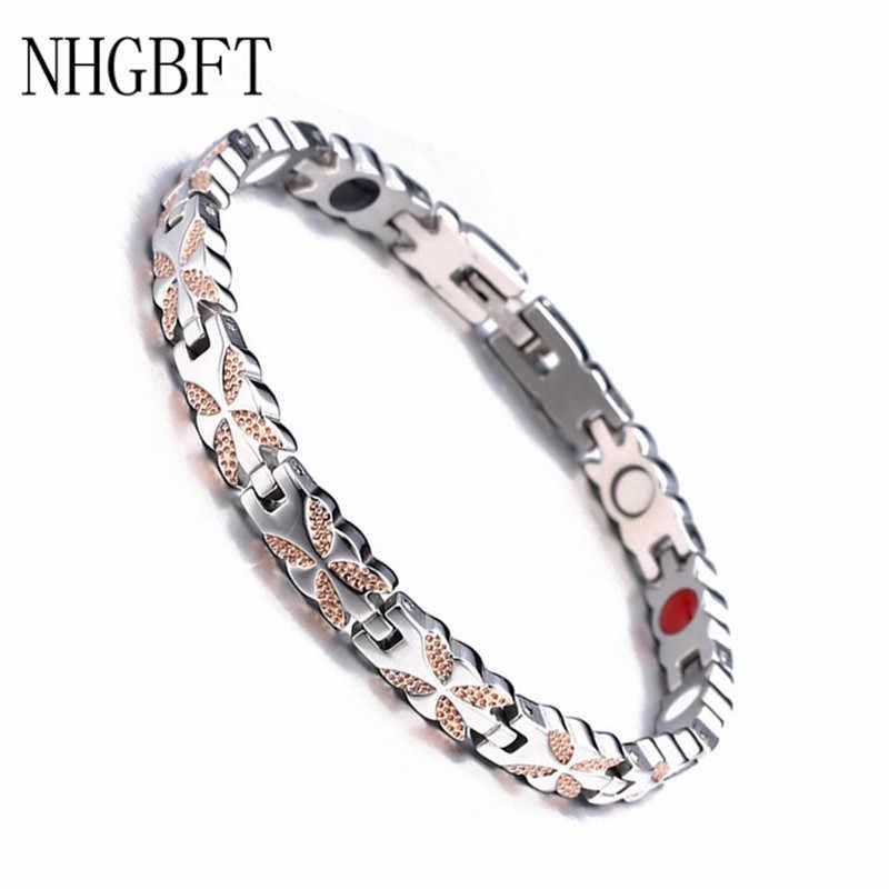 Nuevo brazalete magnético NHGBFT de acero inoxidable con movimiento para el cuidado de la salud para mujeres y hombres Color rosa dorado