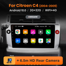 AWESAFE PX9 Radio del coche para Citroen C4 2004, 2005, 2006, 2007, 2008, 2009 Citroen-C4 Android sistema Multimedia DVD GPS Bluetooth 2 Din