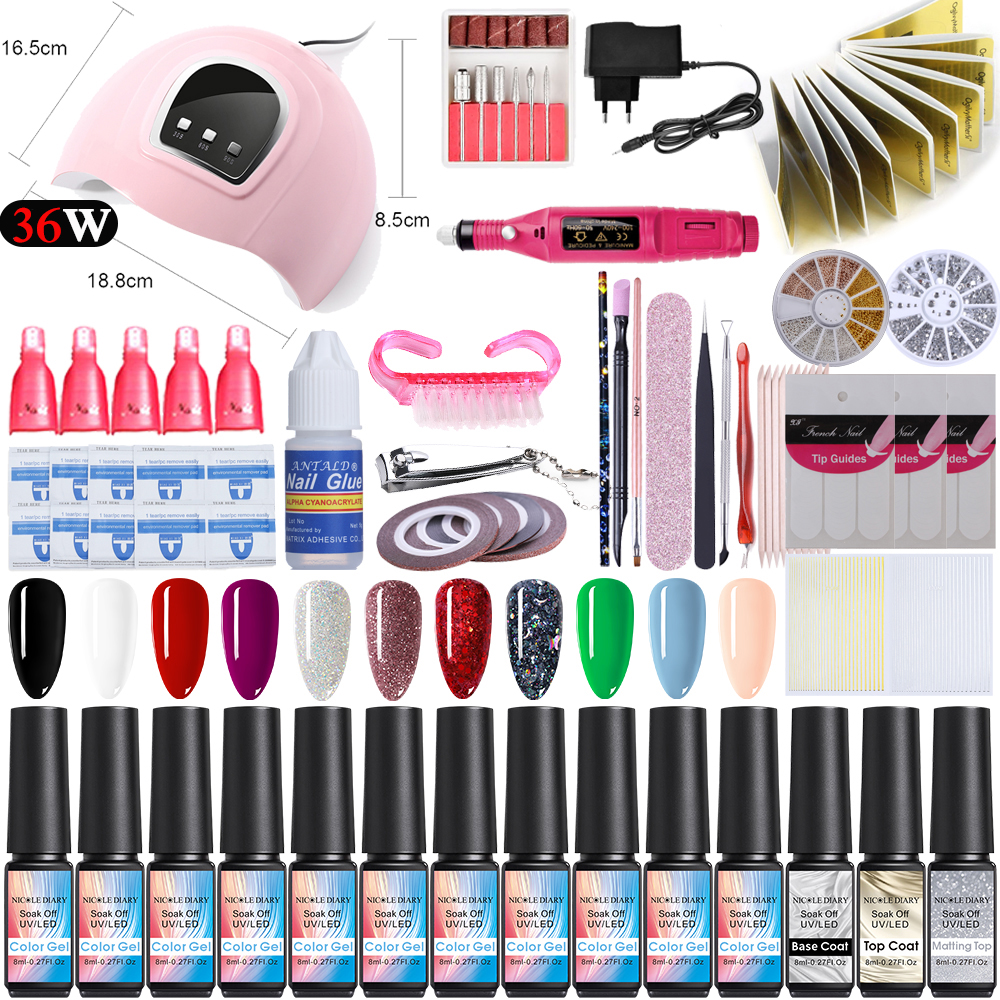 Nail Set UV LED Lamp Dryer With 14pcs Nail Gel Polish Kit Soak Off  Tools Set Electric Nail Drill Machine Tools