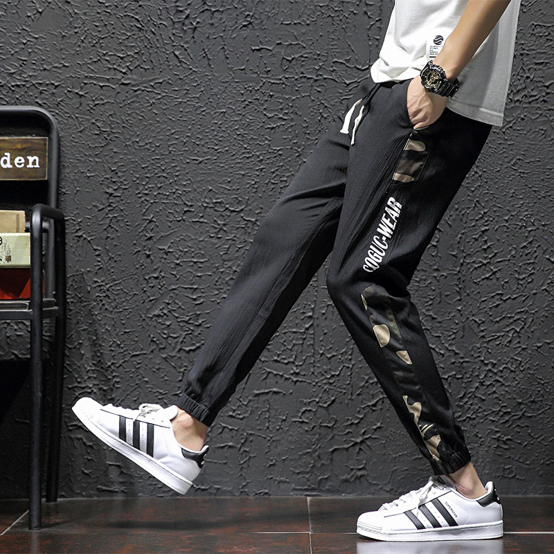 Summer Pants Men Korean-style Trend Loose Bib Overall Thin Beam Leg Sports Casual Skinny Slim Fit Capri Pants