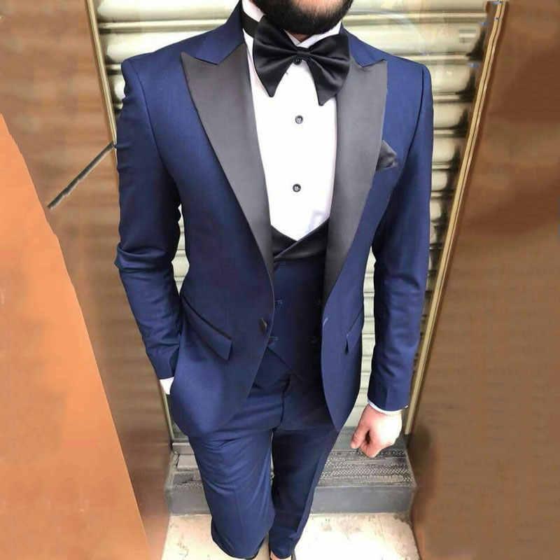 بدلة رجالية موضة 2021 بدل زفاف زرقاء بيضاء بدلة العريس سترة سهرة للتدخين 3 قطع بدلة ضيقة للرجال بدلة Aliexpress