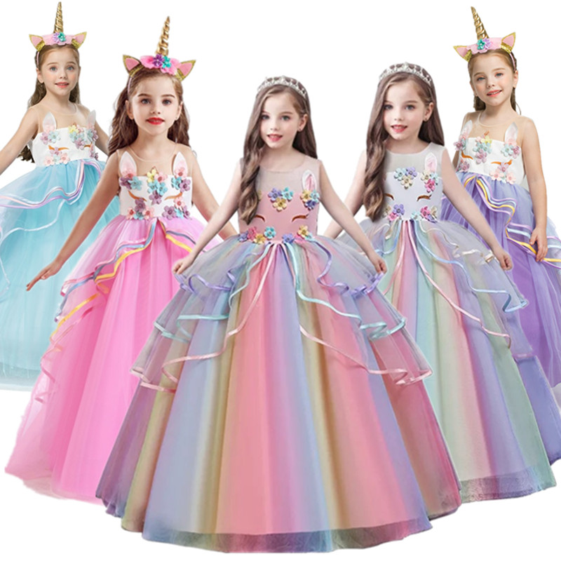 Fancy Baby Girl Rainbow Unicorn Girls Dress Party Elegant Children Kids Long Tutu Gown Princess Dresses Teen Girl 10 12 14 Years 1