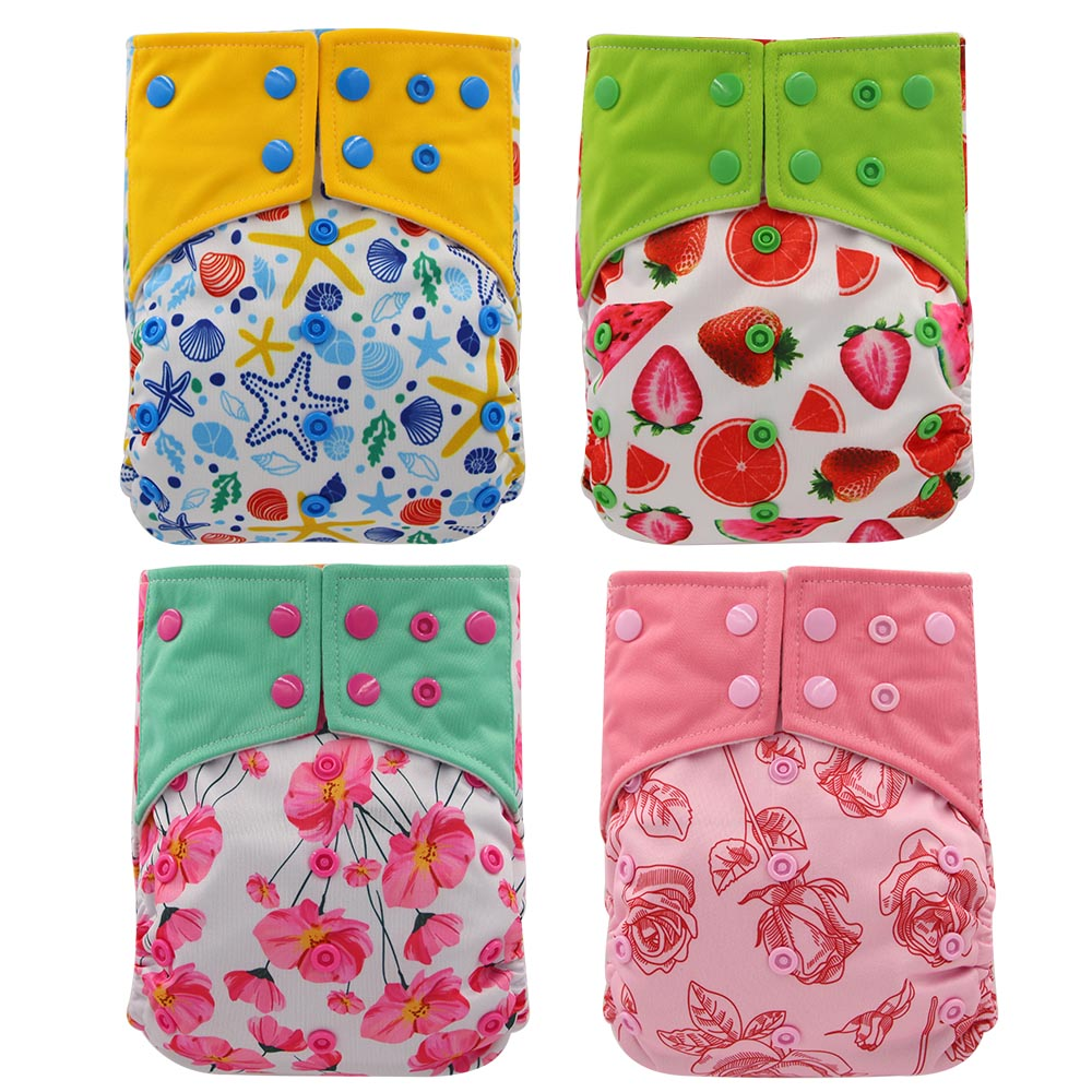 Ohbabyka 4PCS/SET Reuable Pocket Diapers AI2 Baby Cloth Daiper Washable Adjustable Nappy Cover Bamboo Charcoal Baby Nappies 0-3Y