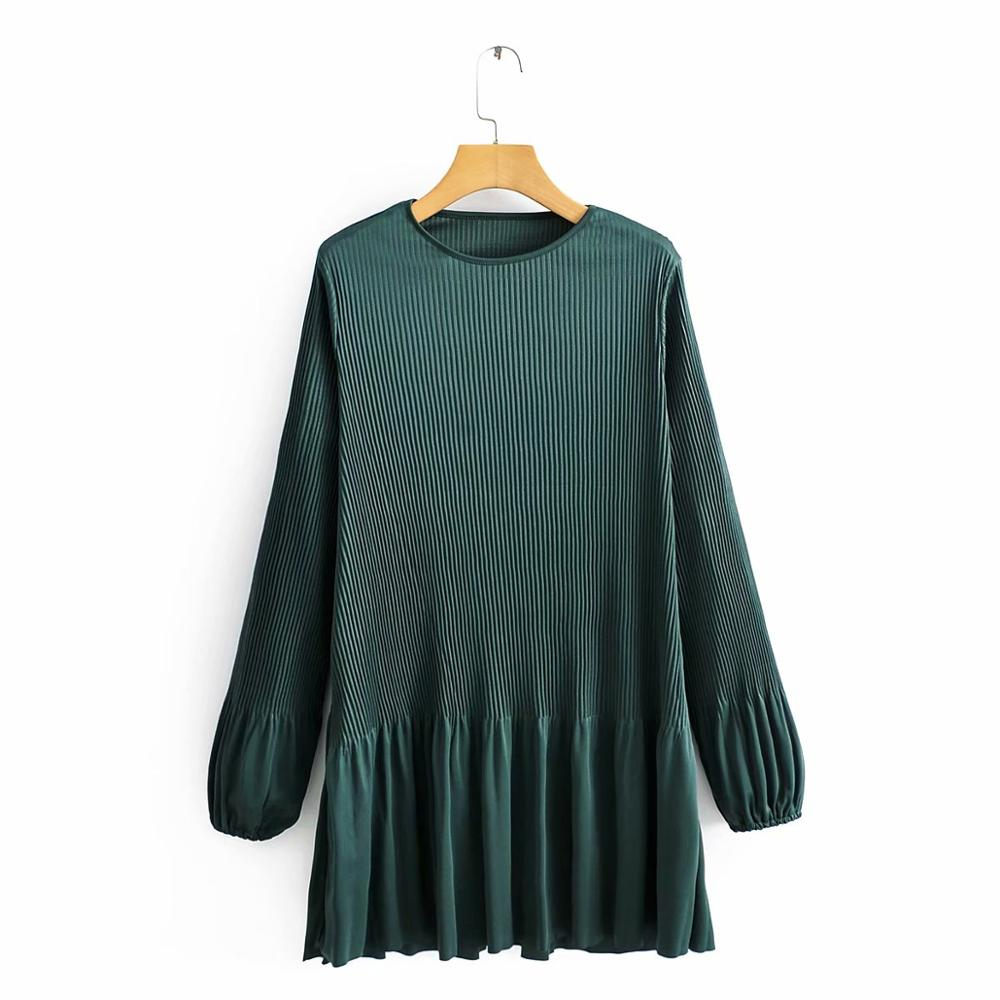 Women basic o neck long sleeve solid color pleated mini dress female chic pleats vestidos casual slim hem ruffles Dresses DS3262