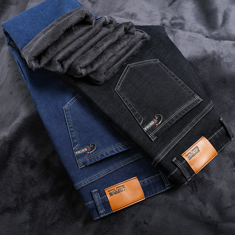 Big Size 2019 Winter New Plus Velvet Thick Warm Men's Casual Jeans Youth Brand Clothing Large Size Stretch Jeans Blue Black