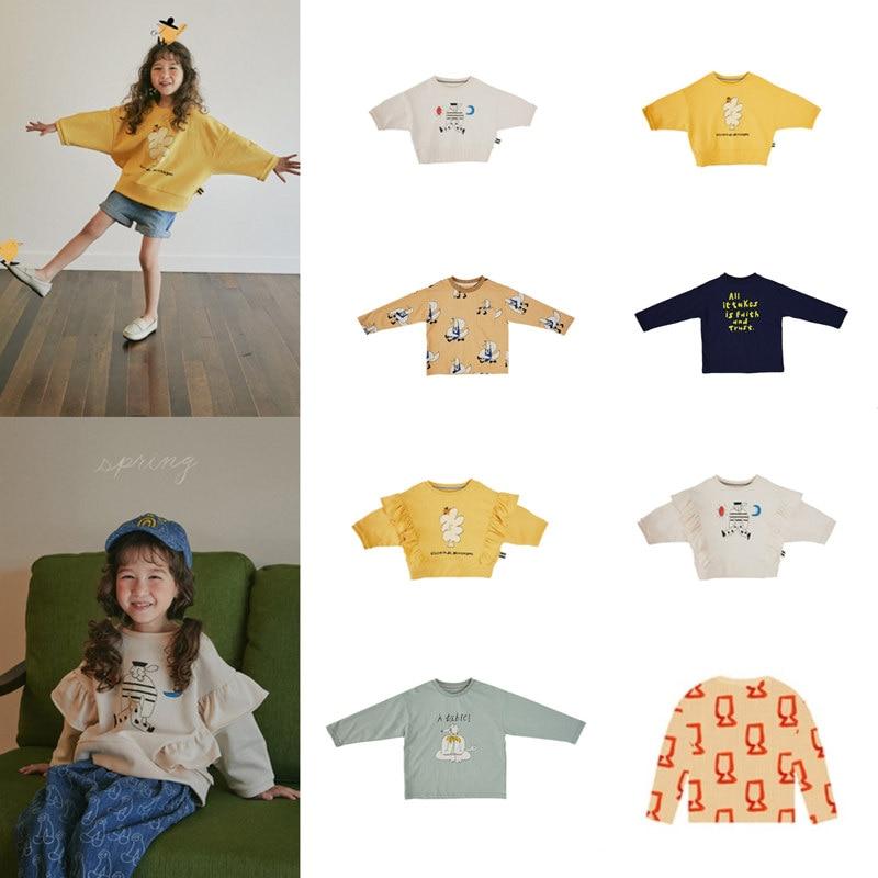 Kids Sweatshirt Korean Brand 2021 New Autumn Boys T-shirts Baby Girls Clothes Cotton Soft Tee Tops Shirt Children Sweatshirts 1