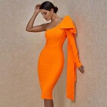 Ocstrade Runway Bownot jeden rękaw bandaża sukni 2020 nowych kobiet Sexy jedna opaska na ramię sukienka Bodycon pomarańczowy klub sukienek
