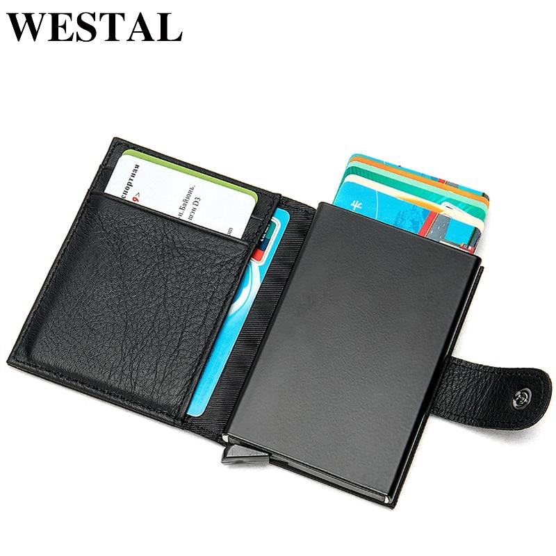 WESTAL Wallet Designer Coin-Purse Genuine-Leather Card-Holder Money-Bag Cluth Male Men's