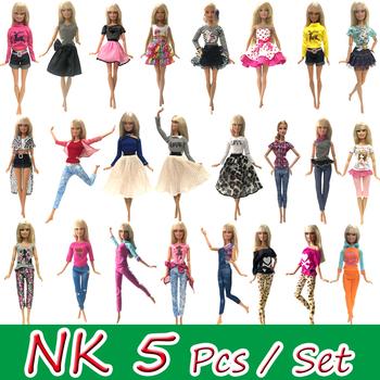 NK 5 szt zestaw lalka moda stroje odzież na co dzień Casual Dress koszula spódnica domek dla lalek ubrania dla Barbie Doll akcesoria 5G JJ tanie i dobre opinie NK Fantastic Fairyland Tkaniny Doll Clothes Dziewczyny Koszule i bluzki Akcesoria dla lalek
