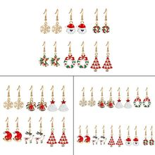 Christmas Theme Drop Earrings Set Snowflake Santa Claus Tree Jewelry