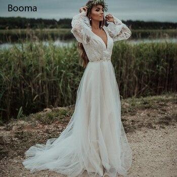 Deep V-Neck Boho Lace Wedding Dresses Backless Poet Sleeves High Slit Bridal Gowns Sashes A-Line Long Bride Dresses burgundy lace details crew neck long sleeves high waisted dresses