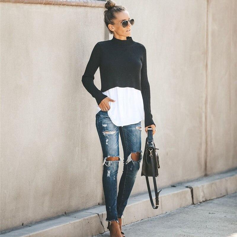 Spliced Slim Women Winter Autumn Knitted Pullover Single Row Buckle Jumper Sweater Female Knit Tops Long Sleeve Semi High Collar