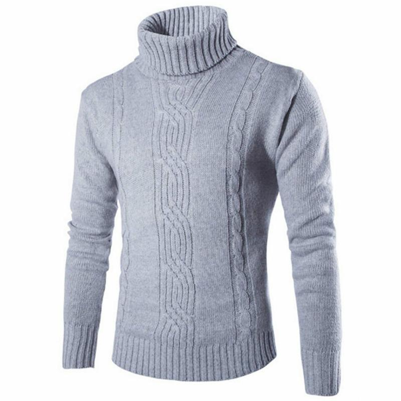 Genuo New 2020 Male Sweater Pullover Slim Warm Solid High Lapel Jacquard Hedging British Men's Clothing Mens Turtleneck