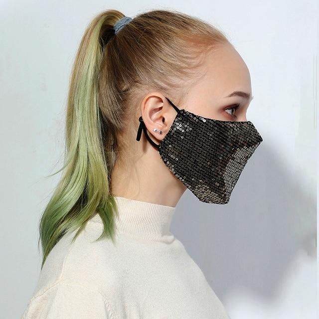 Sequins Face Mouth Mask Anti-dust Haze Flu Respirator Reusable Adult Bling Bling Face Mask Unisex Fashion Breathable Sponge Mask 1