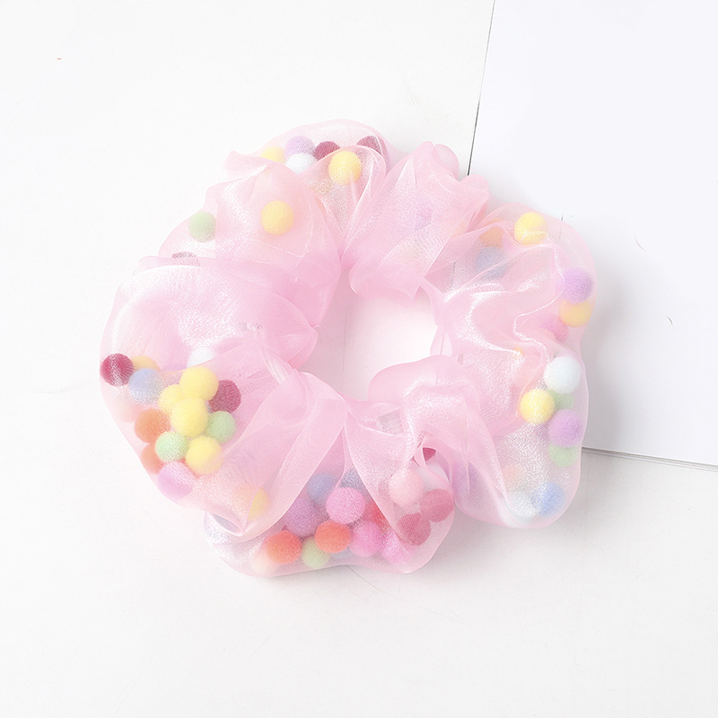 Hot Fashion Women Organza With Colorful Ball Hair Scrunchies INS Girl's Cute Ponytail Holder Elastic Hair Bands Hair Accessories