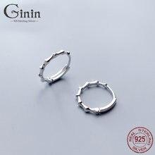 Женские серьги кольца ginin из чистого серебра 925 пробы в Корейском
