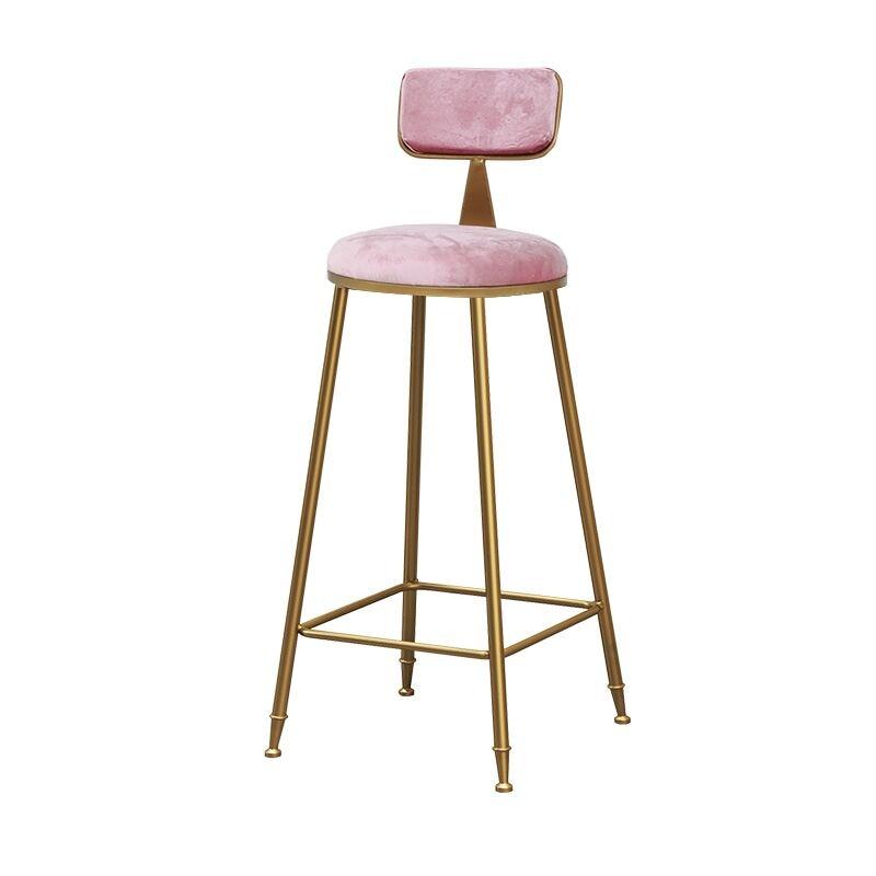 Nordic Bar Chair Stool Ins Simple Net Red Light Luxury Restaurant Milk Tea Front Desk Chair Gold Back High Foot Stool