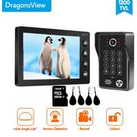 Dragonsview 7 Inch RFID Video Door Phone Password Doorbell Video Intercom System ID Card Motion Detection Record SD Card