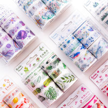 10 pcs / Set washi tape cactus washitape Starry sky masking tape Kawaii material escolar washi scrapbooking papelaria good morning cartoon washi tape papelaria material escolar masking tape stickers scrapbooking washitape fita japanese stationery