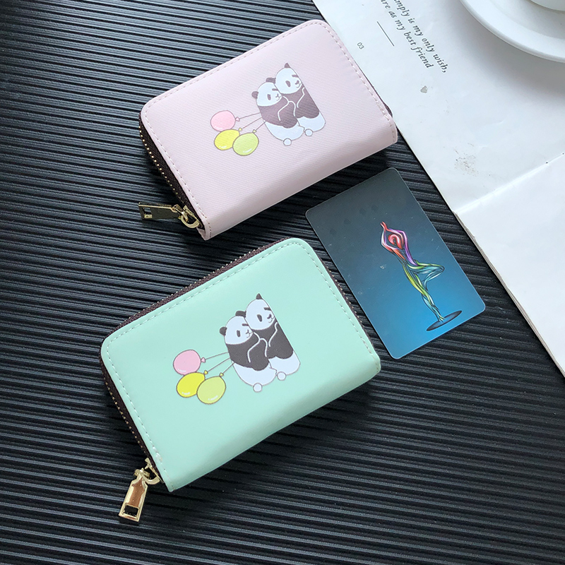 APP BLOG Cute Cartoon Balloon Panda Women Card Holder Fashion Extendable ID Credit Bank Cards Wallet Case Driver License Bags image