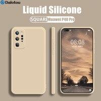 Funda de silicona líquida cuadrada de lujo para Huawei, P30, P40, Lite, P50, P20 Pro, Mate 20, 30, 40, Honor 20, 8X, P Smart, 2021 Z, suave, caramelo