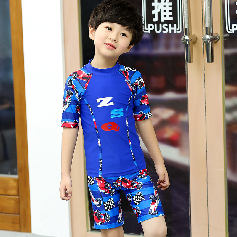New Style KID'S Swimwear BOY'S Cute Handsome Cartoon Karting Pattern Large Children Split Type Two-Piece Swimwear