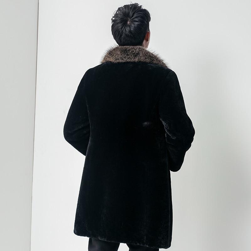 Real Fur Coat Sheep Shearling Fur Coat Autumn Winter Jacket Men Raccoon Fur Collar Long Coats Chaqueta Hombre8605 MY1216