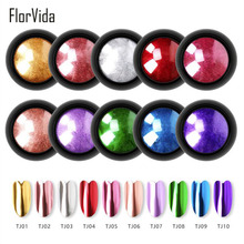 FlorVida 2ml Mirror Nail Powder 10 Colors Glitter Laser Holographic Art Decorations
