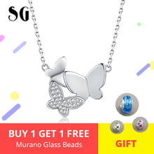 New Design 925 Sterling silver Lovely Butterfly Pendant Necklace With White CZ For Women Sterling Silver Jewelry Free Shipping цена 2017