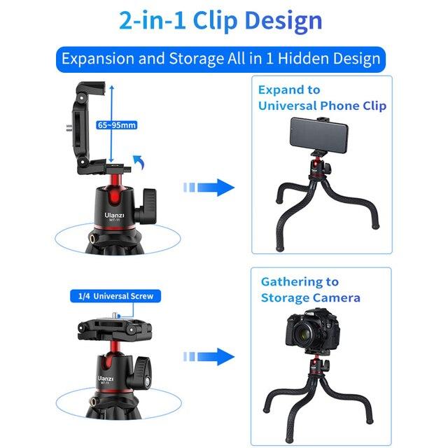 Ulanzi MT-11 Flexible Octopus Tripod for DSLR Smartphone 2 in 1 Tripod Extend 1/4'' Screw for Magic Arm Led Video Light 3