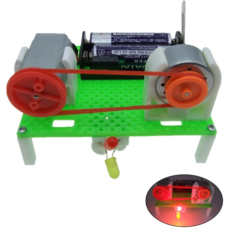 Creative DIY Assembled Mini Transmission Generate Electric Generator Model Science Experiment Kids Children Educational Toys