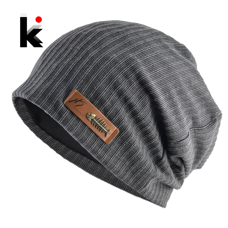 Fashion Beanies Men Women Solid Knitted Hat With Fish Bone Logo Solid Color Bonnet Hats Spring Autumn Casual Hip Hop Turban Cap