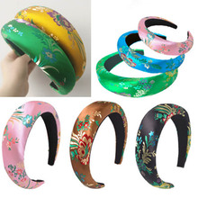 3/4cm Wide Thick Satin Embroidery Headbands Retro Style Women Sponge Hairband Girls Hair Hoop Head Bands Accessories