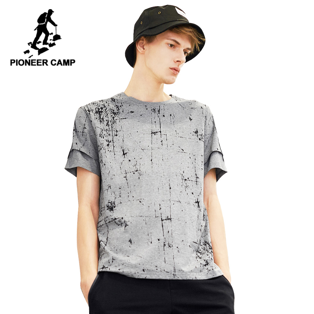 Pioneer camp new summer short sleeve t shirt mens brand clothing fashion printed tshirts for men webbing design t-shirt male
