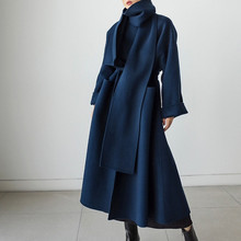 Spring-Coat Loose Female Korean Women Casual EWQ Long Minimalist Bandage Neckerchief