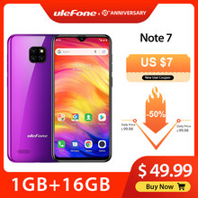Ulefone Note 7 Smartphone 3500mAh 19:9 Quad Core 6.1inch Waterdrop Screen 16GB ROM Mobiele telefoon WCDMA Mobiel android android9.0(China)