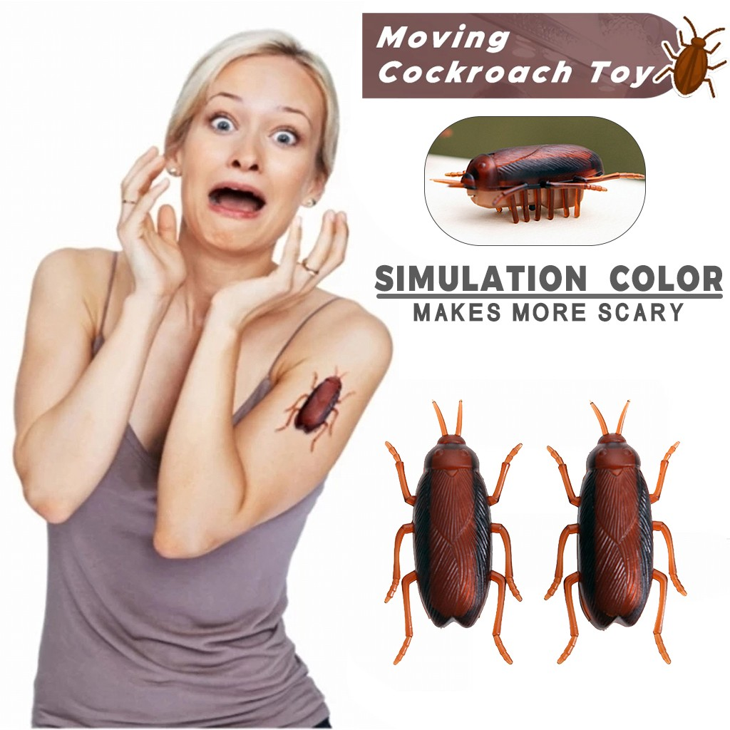 Horrible Moving Cockroach Electricity Fake Cockroach Toy Insects Prank Toy Rc Shock Scary Cockroach Christmas Halloween Crawling