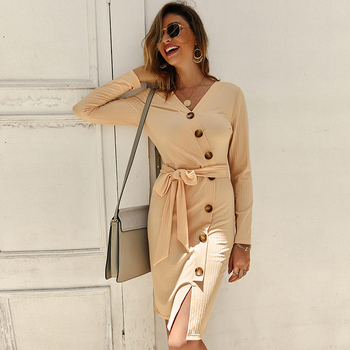 Sexy V Neck Autumn Long Sleeve Women Knitted Sweater Dress 2019 Solid Leisure Sashes Bodycon Button Midi Party Dress Robe Femme