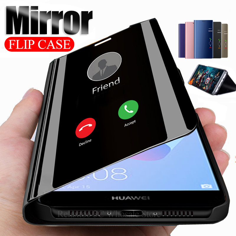 Mirror Flip Case For huawei y6 prime 2018 y5 y9 2019 y7 pro stand leather Cover on huawey y 5 6 7 9 5y 6y 7y 9y Phone view coque(China)