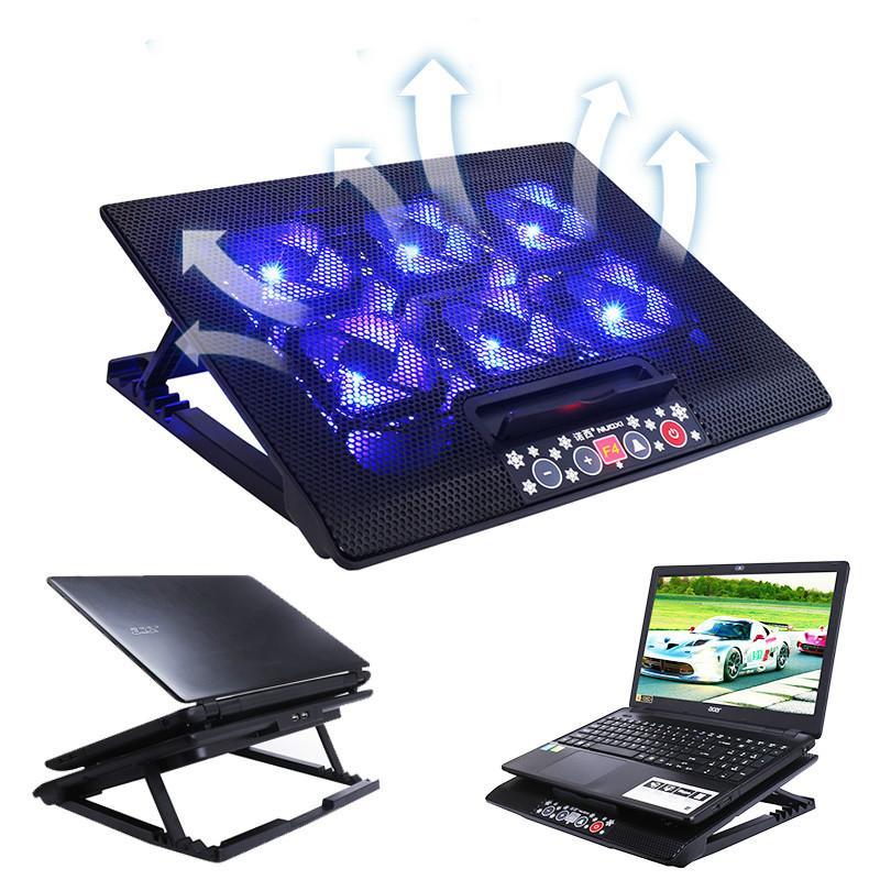 Refroidisseur silencieux ordinateur portable en aluminium Base de refroidissement 5v LED 6 ventilateurs ordinateur portable refroidisseur usb Port Support pour hp 15 17 15.6