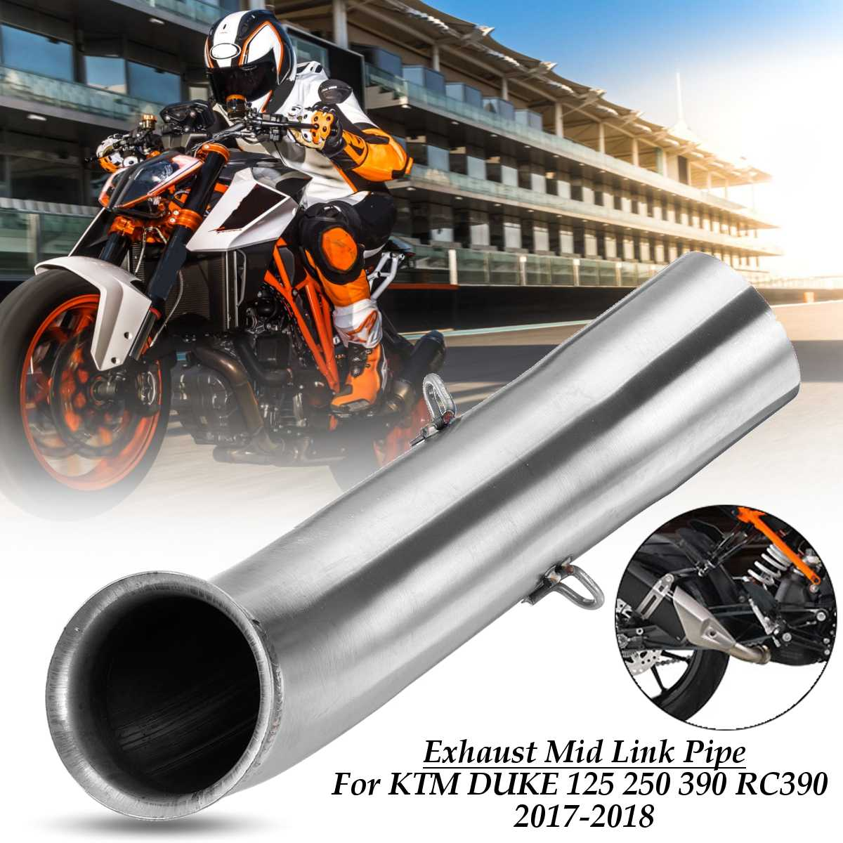 Motorcycle Moto Exhaust Muffler Middle Pipe Connect Adapter Slip-on System For KTM DUKE 390 250 125 Duke RC 390 RC390 2017 2018 image