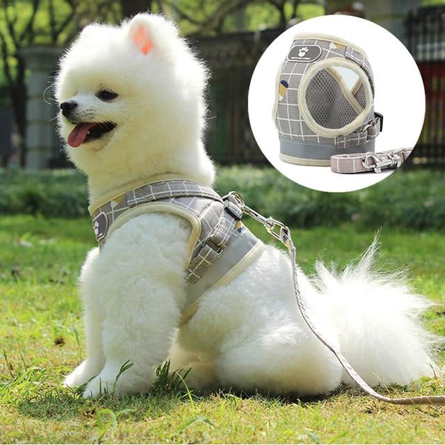 Reflective Dog Cat Harness Adjustable Vest Walking Soft Mesh Breathable Pet Collar Traction Leash Set for Dog Pet Supplies 2