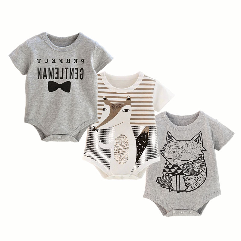 Newborn Bodysuit Baby Boy Clothes Cotton Short Sleeve Printing Infant Clothing Onesies Toddler Twins Bodysuits Outfits Summer